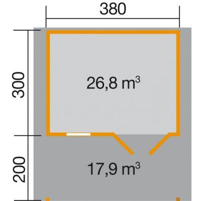 Afbeelding 2 van Weka Tuinhuis 136A Gr. 1 met Luifel 200cm