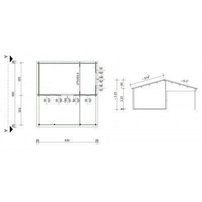 Bild 46 von Azalp Blockhaus Ben 700x650 cm, 60 mm