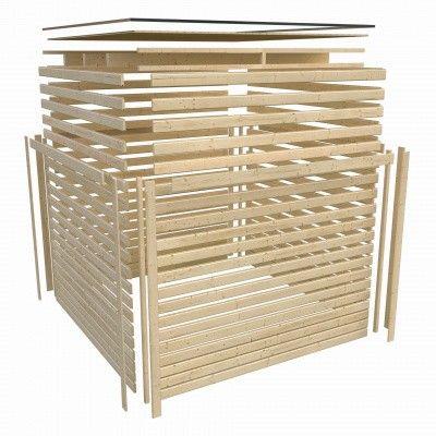 Afbeelding 3 van Woodfeeling Mechelen 1 met luifel 240 cm Zijdegrijs
