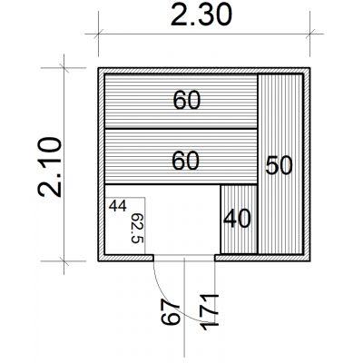 Afbeelding 2 van Azalp Massieve sauna Eva 230x210 cm, 45 mm