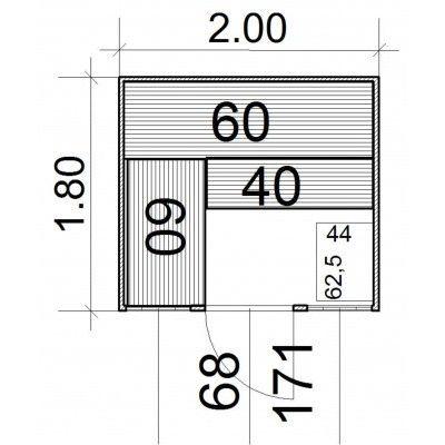 Afbeelding 4 van Azalp Massieve sauna Eva Optic 180x200 cm, 45 mm