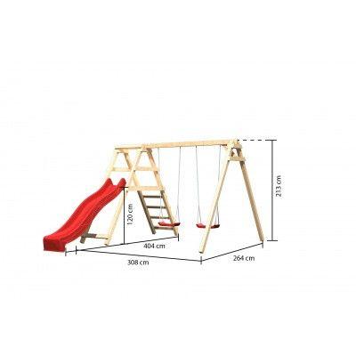 Afbeelding 2 van Akubi Dubbele schommel Felix met klimgedeelte en glijbaan (89338)