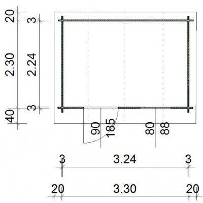 Afbeelding 64 van Azalp Blokhut Kent 350x250 cm, 30 mm