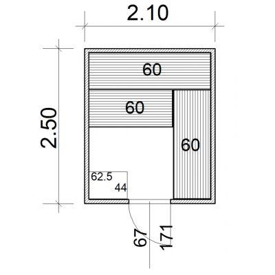 Afbeelding 2 van Azalp Massieve sauna Eva 210x250 cm, 45 mm