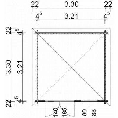 Bild 3 von Azalp Blockhaus Wubbo 350x350 cm, 45 mm