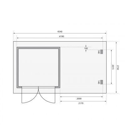 Afbeelding 2 van Woodfeeling Bastrup 2 met veranda 200 cm (73314)