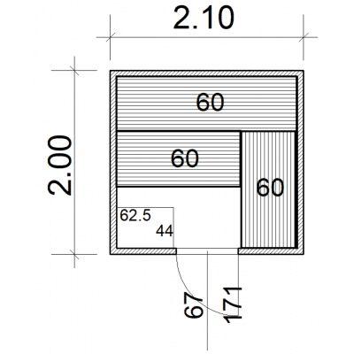 Afbeelding 2 van Azalp Massieve sauna Eva 210x200 cm, 45 mm