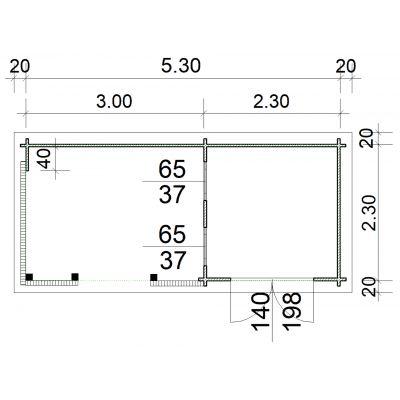 Bild 2 von Azalp Blockhaus Jesse 550x250 cm, 30 mm