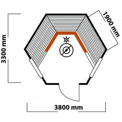 Afbeelding 2 van Interflex Sauna Kota 380x330 cm (9/1B)