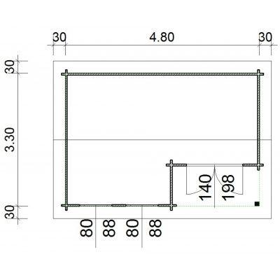 Bild 66 von Azalp Blockhaus Kinross 500x350 cm, 45 mm