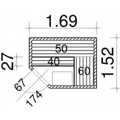 Afbeelding 51 van Azalp Elementhoeksauna 169x152 cm, vuren