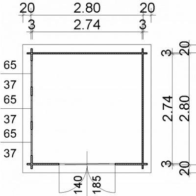 Bild 2 von Azalp Blockhaus Ingmar 300x300 cm, 30 mm