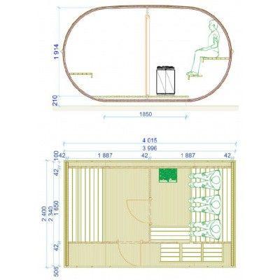 Bild 2 von Azalp Fasssauna Oval 402x240 cm, zwei Zimmer + Terrasse