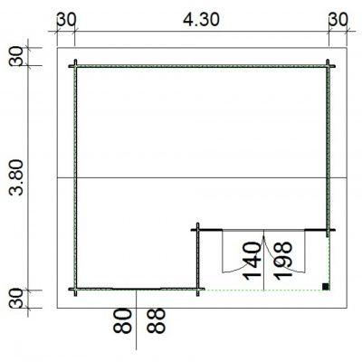 Bild 66 von Azalp Blockhaus Kinross 450x400 cm, 45 mm