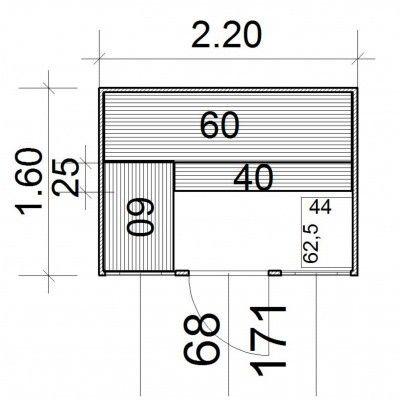 Afbeelding 4 van Azalp Massieve sauna Eva Optic 220x160 cm, 45 mm