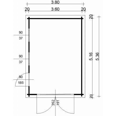 Afbeelding 2 van Azalp Garage Thijs 380x536 cm, 45 mm Modern
