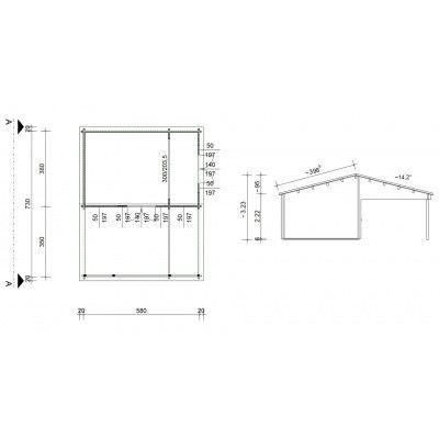 Bild 46 von Azalp Blockhaus Ben 600x750 cm, 60 mm