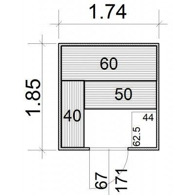 Afbeelding 5 van Azalp Massieve sauna Rio Standaard 174x185 cm, 39 mm