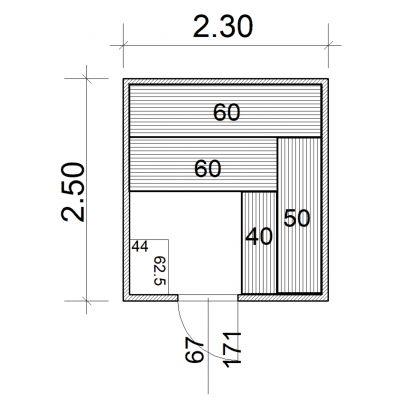 Afbeelding 2 van Azalp Massieve sauna Eva 230x250 cm, 45 mm