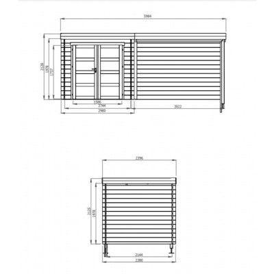 Afbeelding 2 van Debro Valence met veranda 300 cm, Hoge druk geïmpregneerd