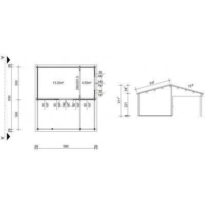 Afbeelding 2 van Azalp Blokhut Ben 600x650 cm, 60 mm
