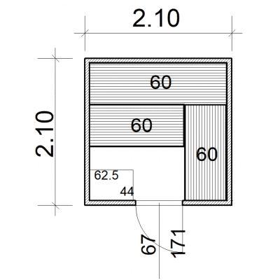Afbeelding 2 van Azalp Massieve sauna Eva 210x210 cm, 45 mm