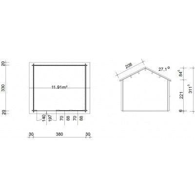 Bild 45 von Azalp Blockhaus Lynn 400x350 cm, 30 mm