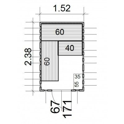 Afbeelding 13 van Azalp massieve sauna Alku 152x238 cm, 40 mm