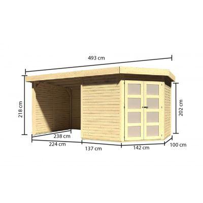 Afbeelding 2 van Karibu Goldendorf 5 met veranda 240 cm (78252)