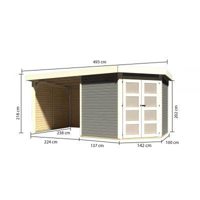 Afbeelding 2 van Karibu Goldendorf 5 met veranda 240 cm (78253)