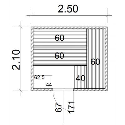 Afbeelding 2 van Azalp Massieve sauna Eva 250x210 cm, 45 mm