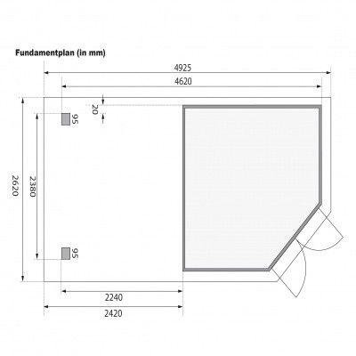 Afbeelding 8 van Karibu Goldendorf 5 met veranda 240 cm (78252)