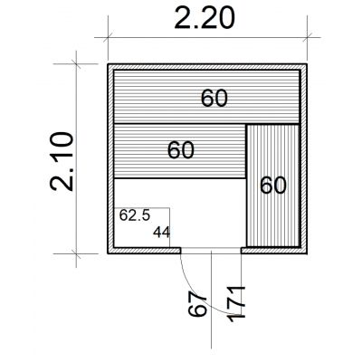 Afbeelding 2 van Azalp Massieve sauna Eva 220x210 cm, 45 mm