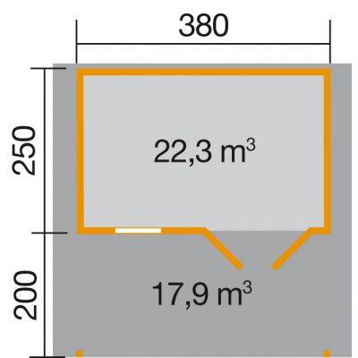 Bild 2 von Weka Gartenhaus 111A Gr. 1 mit Vordach 200cm