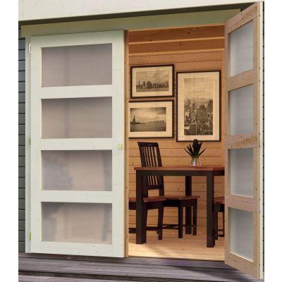 Afbeelding 3 van Woodfeeling Leuven 4 met veranda 240 cm Terragrijs