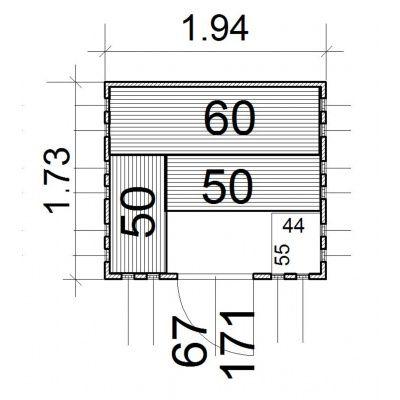 Afbeelding 2 van Azalp massieve sauna Alku 194x173 cm, 40 mm