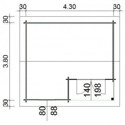Bild 66 von Azalp Blockhaus Kinross 450x400 cm, 30 mm