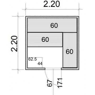 Afbeelding 2 van Azalp Massieve sauna Eva 220x220 cm, 45 mm