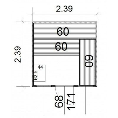 Afbeelding 2 van Azalp Massieve sauna Rio Optic 239x239 cm, 39 mm