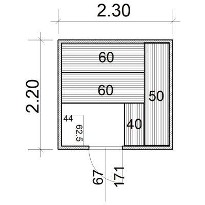 Afbeelding 2 van Azalp Massieve sauna Eva 230x220 cm, 45 mm