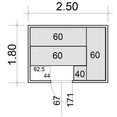 Afbeelding 2 van Azalp Massieve sauna Eva 250x180 cm, 45 mm