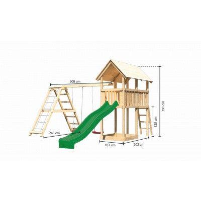 Afbeelding 2 van Akubi Speeltoren Danny met glijbaan, dubbele schommel en klimgedeelte (89363)