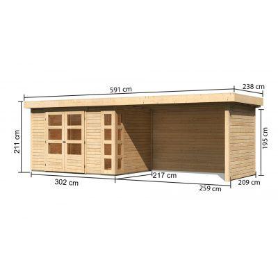 Afbeelding 2 van Woodfeeling Kerko 4 met veranda 280 cm (82946)