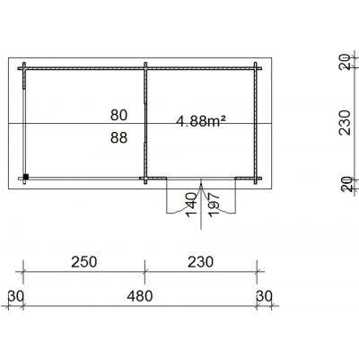 Bild 2 von Azalp Blockhaus Marnix 500x250 cm, 30 mm