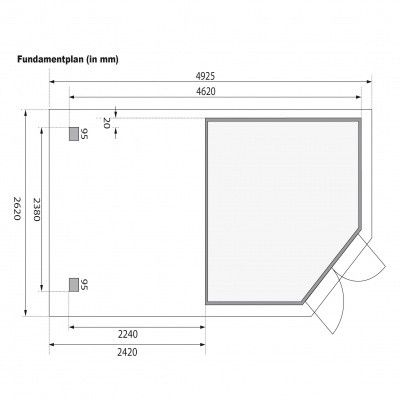 Afbeelding 8 van Karibu Goldendorf 5 met veranda 240 cm (78253)