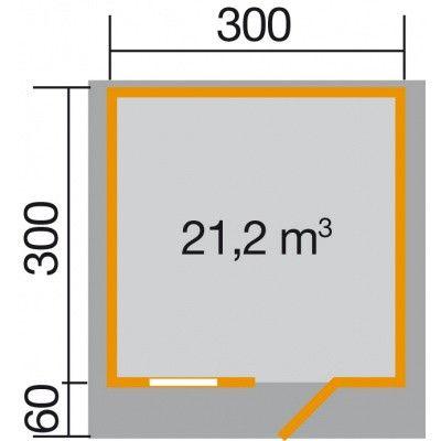 Afbeelding 2 van Weka Tuinhuis Premium28 FT Gr. 3 met Luifel 300cm