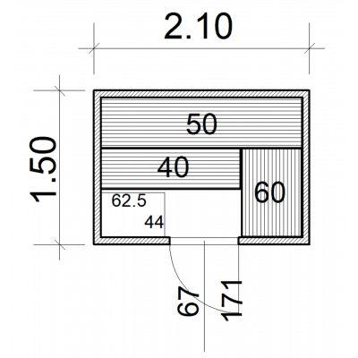 Afbeelding 2 van Azalp Massieve sauna Eva 210x150 cm, 45 mm