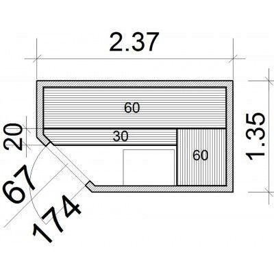 Afbeelding 52 van Azalp Elementhoeksauna 237x135 cm, elzen