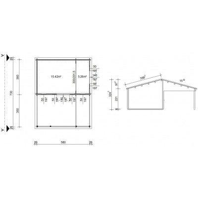 Bild 46 von Azalp Blockhaus Ben 600x750 cm, 45 mm