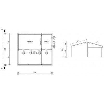 Bild 46 von Azalp Blockhaus Ben 700x650 cm, 45 mm